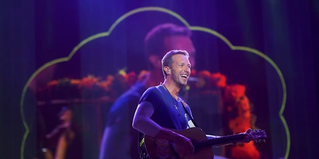 Chris Martin of Coldplay performs during the fifth annual Made in America Music Festival in Philadelphia.