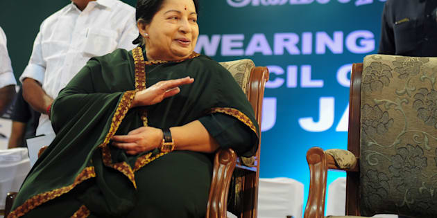 Jayalalithaa Jayaram, leader of All India Anna Dravida Munnetra Kazhagam (AIADMK), takes part in a swearing-in ceremony as chief minister of Tamil Nadu on May 23, 2016. ARUN SANKAR/AFP/Getty Images.