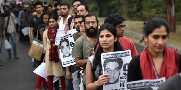 Members of JNUSU during a protest regarding the missing case of JNU student Najeeb Ahmad. (Photo by Ravi Choudhary/Hindustan Times via Getty Images)