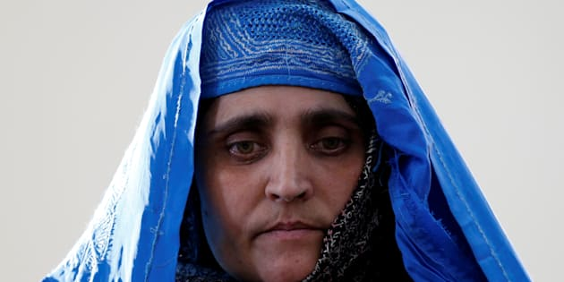 """Sharbat Gula, the green-eyed """"Afghan Girl"""" whose 1985 photo in National Geographic became a symbol of her country's wars."""