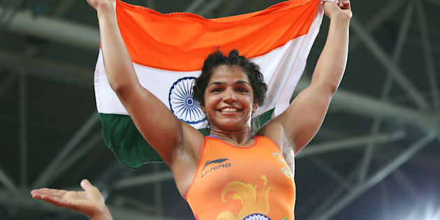 Sakshi Malik after her win.