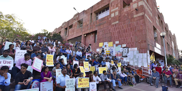 JNU teachers protest against the arrest of JNUSU students at JNU campus, on March 9, 2016 in New Delhi, India. (Photo by Sanjeev Verma/Hindustan Times via Getty Images)