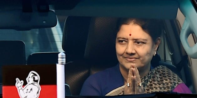 AIADMK General Secretary VK Sasikala arrives at the resort on third consecutive day in Koovathur in East Coast Road and met various MLAs who are camping over the last four days to decide on the further course of action near Chennai on Monday.