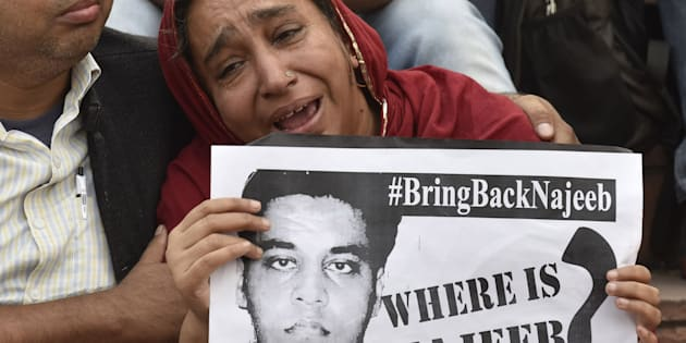 Najeeb Ahmed's mother at the JNU campus on November 3, 2016 in New Delhi, India. (Photo by Sanjeev Verma/Hindustan Times via Getty Images)