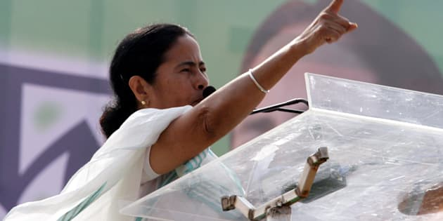 KOLKATA, INDIA - JANUARY30: West Bengal Chief Minister Mamata Banerjee addressing the Trinamool Congress rally at Brigade Parade Ground on January 30, 2014 in Kolkata, India. Kick-starting her party's Lok Sabha campaign TMC supremo said that her party would go it alone in the polls and renewed her call for a federal front. ( Photo by Subhankar Chakraborty/Hindustan Times via Getty Images)