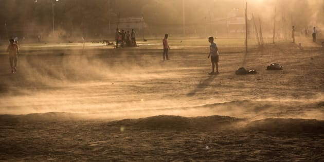 Strong gusty winds manage to keep the evening weather pleasant throughout at Shivaji Park after a hot and humid afternoon, on June 1, 2016 in Mumbai.