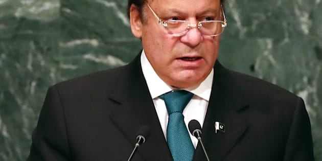 NEW YORK, NY - SEPTEMBER 21:  Pakistan's Prime Minister Nawaz Sharif addresses the General Assembly at the United Nations on September 21, 2016 in New York City. Presidents, prime ministers, monarchs and ministers are gathering this week for the United Nation's General Assembly's annual ministerial meeting.  (Photo by Spencer Platt/Getty Images)