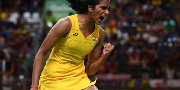 PV Sindhu winning a point in the Women's Badminton Singles Semi-final on August 18, 2016 in Rio de Janeiro.
