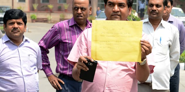 Sacked AAP Minister Kapil Mishra outside ACB (Anti Corruption Branch) office, on May 8, 2017 in New Delhi, India.