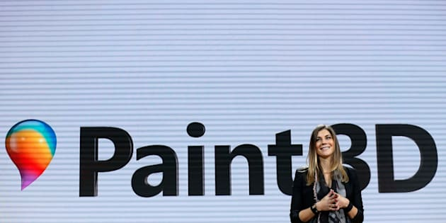 """Megan Saunders, Microsoft general manager of HoloLens and other emergent technologies announces Microsoft's """"Paint 3D"""""""