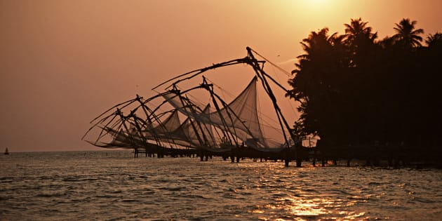 Chinese fishing nets line the mouth of the harbour at Fort Cochin, an old Portuguese town in Kerala.