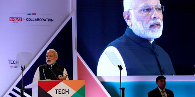 Indian Prime Minister Narendra Modi addresses a gathering during the India-UK Tech Summit in New Delhi, India, November 7, 2016. REUTERS/Adnan Abidi