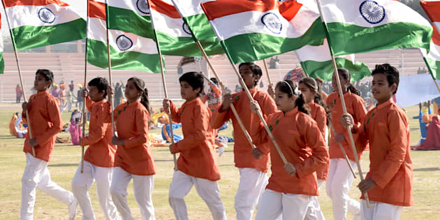 School children perform cultural program during I-day rehearsal.