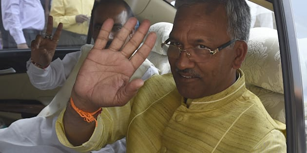 NEW DELHI, INDIA - MARCH 22: Uttarakhand Chief Minister Trivendra Singh Rawat leaves after meeting with Prime Minister Narendra Modi and other ministers during the Parliament Budget Session on March 22, 2017 in New Delhi, India. (Photo by Sonu Mehta/Hindustan Times via Getty Images)