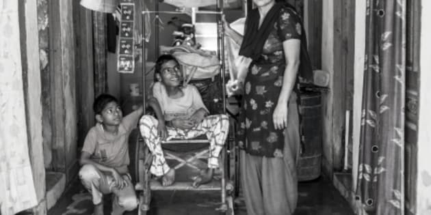 Every day, Umesh's mother would carry him to the street corner where he sold cigarettes.