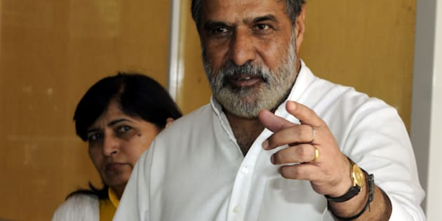 Former Union Minister of Commerce and Industry and Textiles and Congress leader Anand Sharma addresses the media on the opening day of the monsoon session on July 21, 2015 in New Delhi, India.