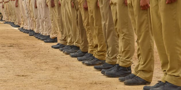 Police officers shoes during parade rehearsal for the Indian Independence Day celebration in Ajmer, Rajasthan, India.