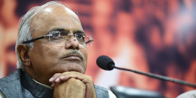 File photo of Vinay Sahasrabuddhe, Vice President of BJP, addressing a press conference on the recent victory of BJP in Municipal Elections in Madhya Pradesh on August 17, 2015 in New Delhi, India. (Photo by Ramesh Pathania/Mint via Getty Images)