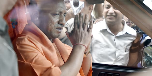 Chief Minister of the state of Uttar Pradesh. Yogi Adityanath Leave at Parliament after the meeting with Prime Minister Narendra Modi and finance Minister Arun Jaitley during the Parliament budget Session on March 21, 2017 in New Delhi, India.