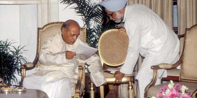 PV Narasimha Rao with Manmohan Singh. (Photo by Prashant Panjiar/The India Today Group/Getty Images)