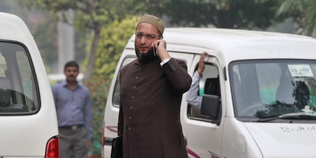 NEW DELHI, INDIA - NOVEMBER 27: President of the All India Majlis-e-Ittehadul Muslimeen Asaduddin Owaisi at the Parliament during the winter session, on November 27, 2015 in New Delhi, India. (Photo by Sanjeev Verma/Hindustan Times via Getty Images)