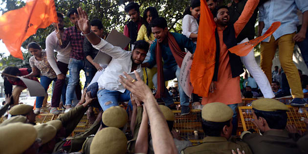 Members of ABVP protest for demand action against February 9 incident where Left-leaning students allegedly supporting anti-national activities, at PHQ, on March 1, 2017 in New Delhi