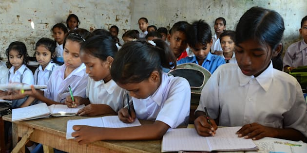 School children in a classroom at a government-run school in Allahabad. (Photo by Prabhat Kumar Verma/Pacific Press/LightRocket via Getty Images)