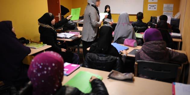 Un cours dispensé à l'école privée hors contrat Al-Badr de Toulouse, en janvier 2014.