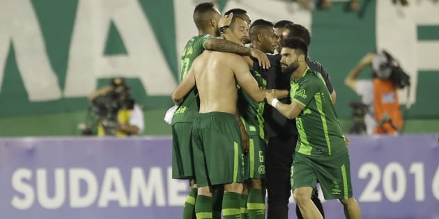 FILE PHOTO of players of Brazil's Chapecoense celebrating at the end of a Copa Sudamericana semifinal soccer match against Argentina's San Lorenzo in Chapeco, Brazil, Wednesday, Nov. 23, 2016.