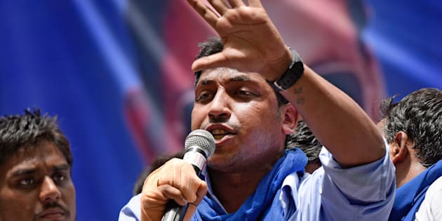 Chandrashekhar, founder of Bhim Army, addressing the crowds during the protest against injustice towards Dalits in Saharanpur, at Jantar-Mantar, on May 21, 2017 in New Delhi, India.