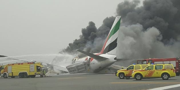 """A photo tweeted out by user """"@apaspo1957"""" of the scene at Dubai international airport shortly after the incident."""