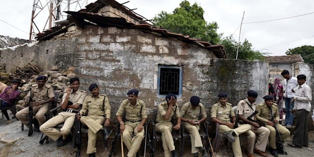 Tight security seen after the Una Dalit row, at Mota Samadhiyala village on July 22, 2016.