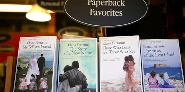 Elena Ferrante's books are photographed at the Harvard Book Store in Cambridge, Mass., on April 8, 2016. (Photo by Jonathan Wiggs/The Boston Globe via Getty Images)