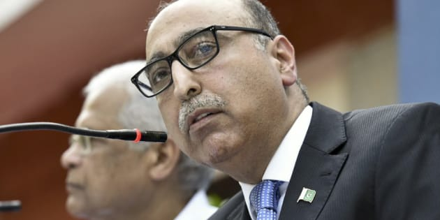 Pakistan High Commissioner Abdul Basit speaks during a press conference, on April 7, 2016 in New Delhi, India.