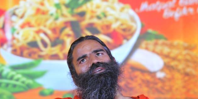 Baba Ramdev launching Patanjali Atta Noodels.