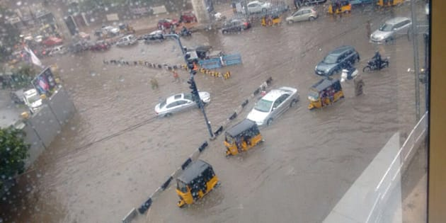 An image of flooded Hyderabad.
