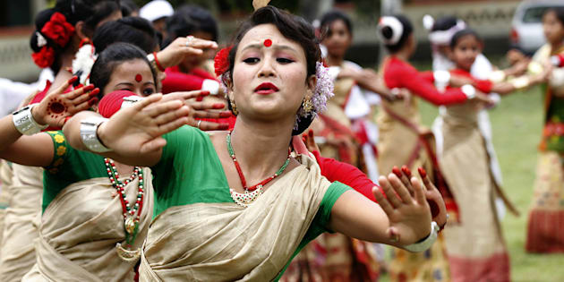 File photo of school girls performing traditional Bihu dance on Assam Bihu Festival on April 14, 2015 in Majuli Island, India.