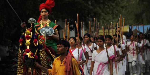 Members of the Rashtra Sevika Samiti participate in a procession in Allahabad.
