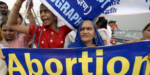 Women attend a rally against abortion in the southern Indian city of Hyderabad October 2, 2008. REUTERS/Krishnendu Halder (INDIA)