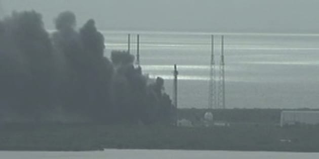 A still image taken from video of smoke rising on the launch site of SpaceX Falcon 9 rocket in Cape Canaveral, Florida, September 1, 2016.