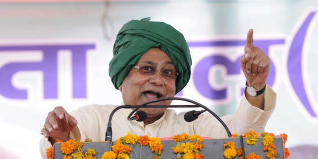 Chief Minister of Bihar Nitish Kumar addresses a rally in which he lambasted on the central and state government demanding liquor ban at Jewar on June 29, 2016 in Greater Noida, India.