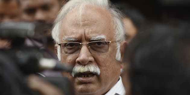 Union Minister for Civil Aviation Pusapati Ashok Gajapathi Raju talking to media persons on the issue of Shiv Sena MP Ravindra Gaikwad, who admitted to thrashing an elderly Air India, at Parliament during the Budget Session on March 24, 2017 in New Delhi, India. (Photo by Raj K Raj/Hindustan Times via Getty Images)