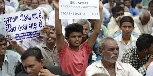 A protest rally against Dalit atrocities in Ahmedabad on 31 July 2016. (SAM PANTHAKY/AFP/Getty Images)