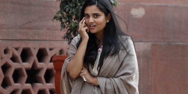 Kannada actress and Congress leader Ramya at Parliament House.