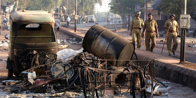 State police patrol the streets of Ahmadabad, India after rioting between Muslims and Hindus March 1, 2002 in Ahmedabad, India.