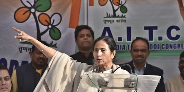 NEW DELHI, INDIA - NOVEMBER 23: TMC leader Mamata Banerjee addresses during the dharna against demonetization at Jantar Mantar on November 23, 2016 in New Delhi, India. In a show of strength, Bengal Chief Minister Mamata Banerjee, backed by JD(U), SP, NCP and AAP, on Wednesday held a demonstration against demonetisation in New Delhi and ramped up attack on Prime Minister Narendra Modi, alleging the country was not safe in his hands. (Photo by Mohd Zakir/Hindustan Times via Getty Images)