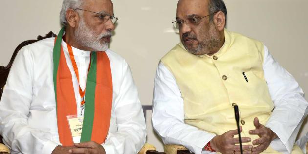 Prime Minister Narendra Modi, with National President of the Bharatiya Janata Party Amit Shah during a meeting at Maharashtra Sadan.