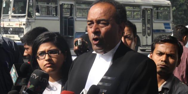 Senior advocate Mukul Rohatgi talks with media on February 22, 2012 in New Delhi.