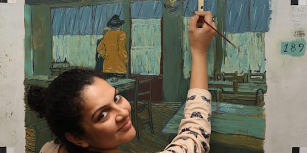 Shuchi Muley painting frames for 'Loving Vincent'.