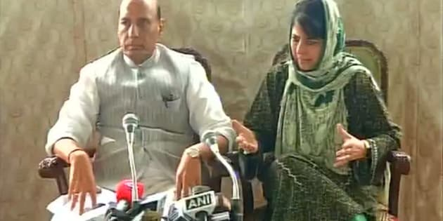 Home Minister Rajnath Singh and Jammu and Kashmir Chief Minister Mehbooba Mufti in Srinagar.